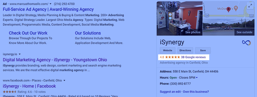 Example of review on SERP.