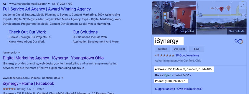 Local SEO: Name, Address, and Phone Number.